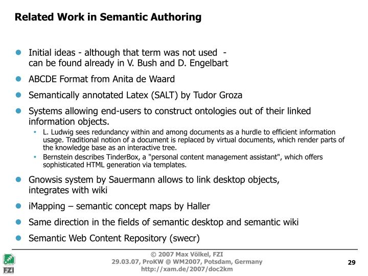 Related Work in Semantic Authoring