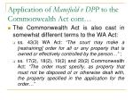 application of mansfield v dpp to the commonwealth act cont