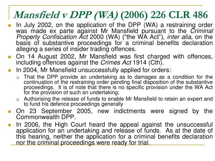 Mansfield v DPP (WA)