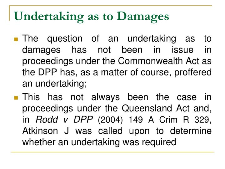 Undertaking as to Damages