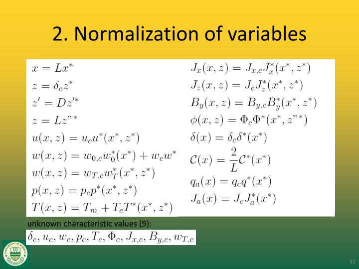 2. Normalization of variables