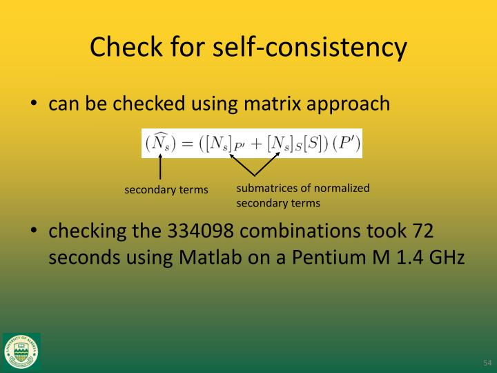 Check for self-consistency