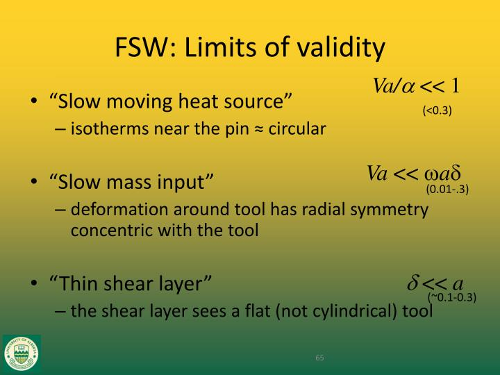 FSW: Limits of validity