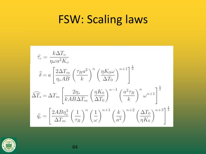 FSW: Scaling laws