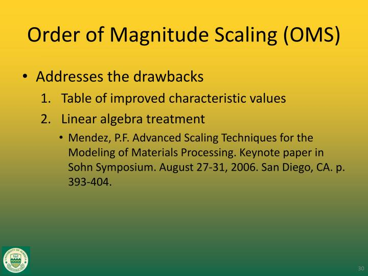Order of Magnitude Scaling (OMS)