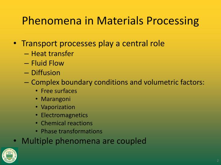 Phenomena in Materials Processing