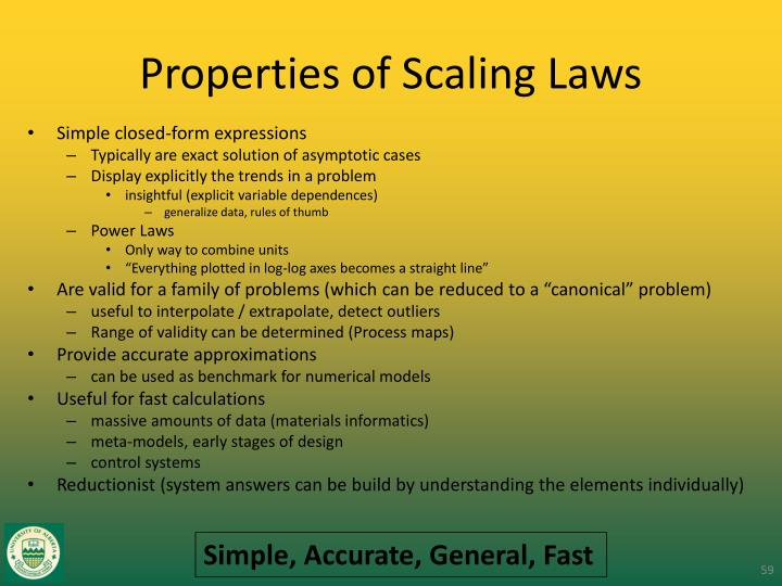 Properties of Scaling Laws