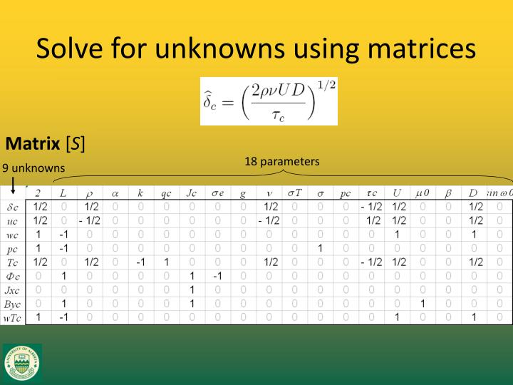 Solve for unknowns using matrices