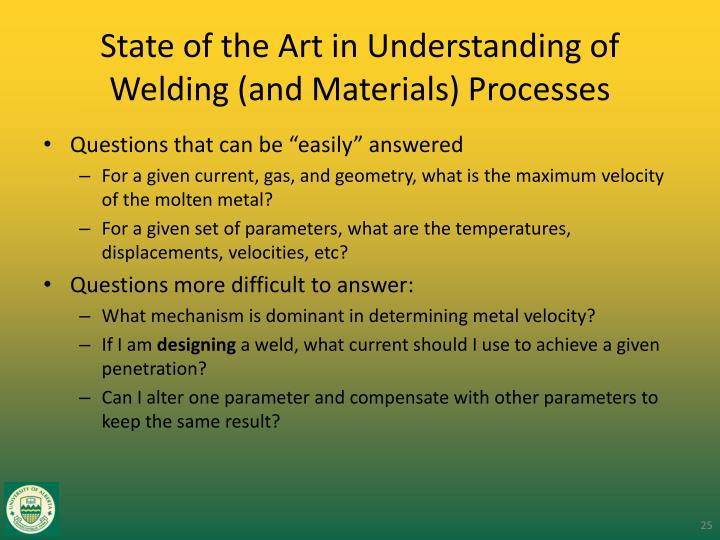 State of the Art in Understanding of Welding (and Materials) Processes