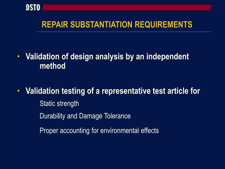 REPAIR SUBSTANTIATION REQUIREMENTS