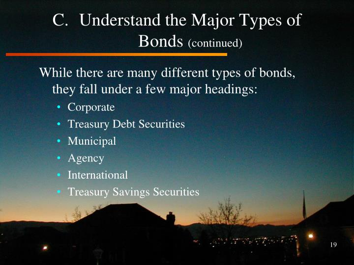 Understand the Major Types of Bonds