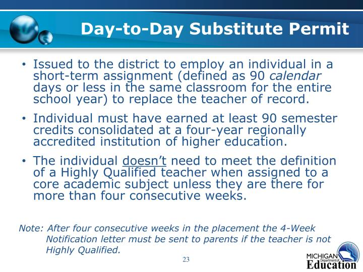 Day-to-Day Substitute Permit