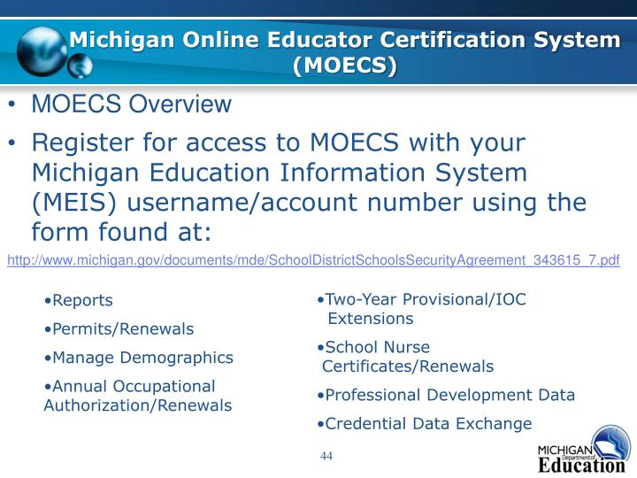 Michigan Online Educator Certification System