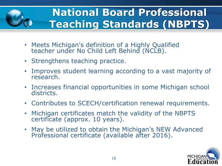 National Board Professional Teaching Standards (NBPTS)