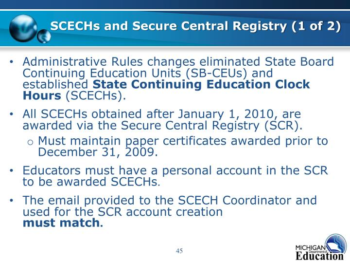 SCECHs and Secure Central Registry (1 of 2)