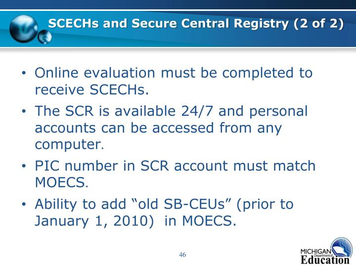 SCECHs and Secure Central