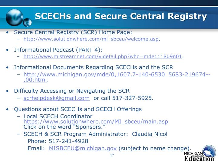 SCECHs and Secure Central Registry