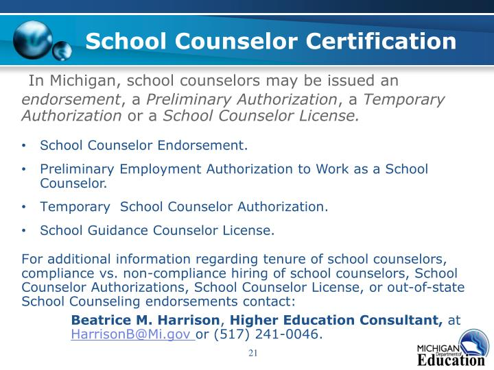 School Counselor Certification