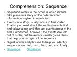 comprehension sequence