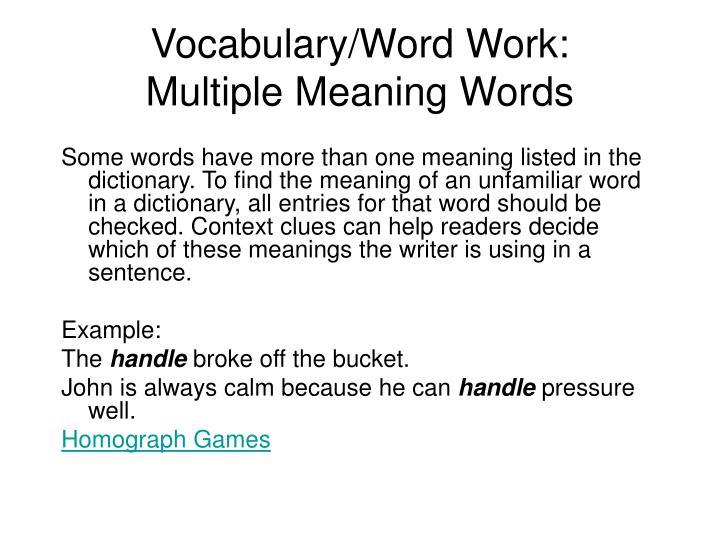 Vocabulary/Word Work: