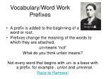 vocabulary word work prefixes