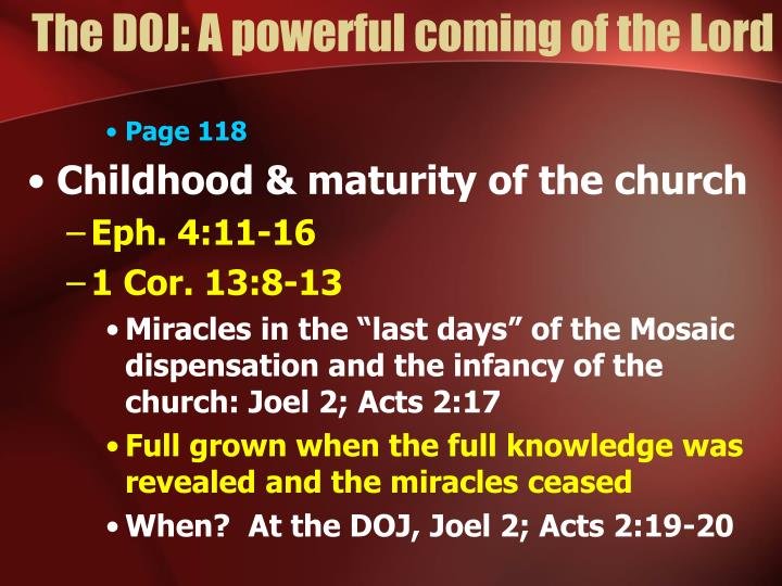 The DOJ: A powerful coming of the Lord