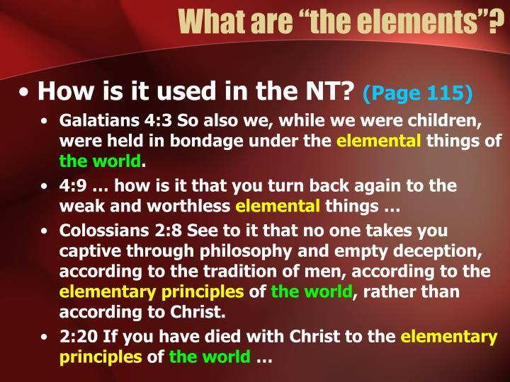 """What are """"the elements""""?"""