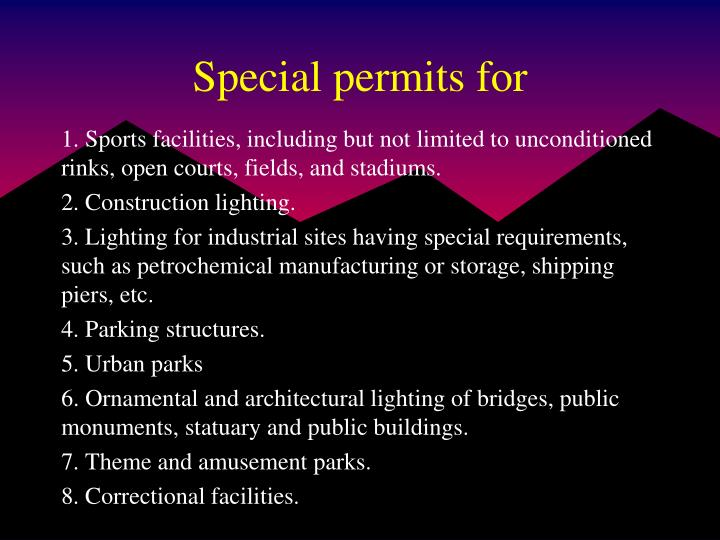 Special permits for