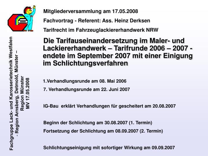 Mitgliederversammlung am 17.05.2008