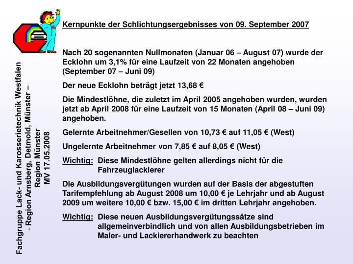 Kernpunkte der Schlichtungsergebnisses von 09. September 2007