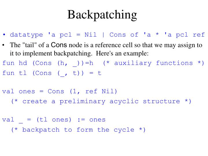 Backpatching