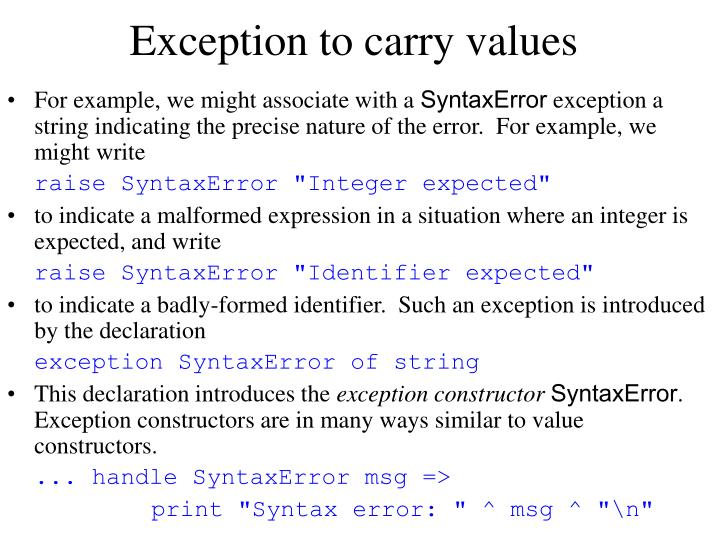 Exception to carry values