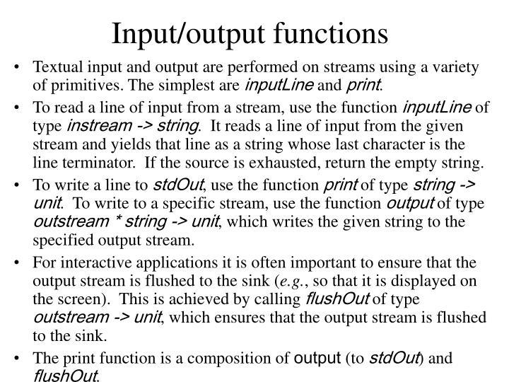 Input/output functions