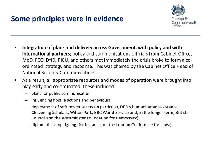Some principles were in evidence