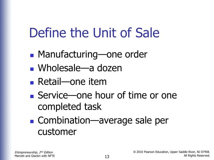 Define the Unit of Sale