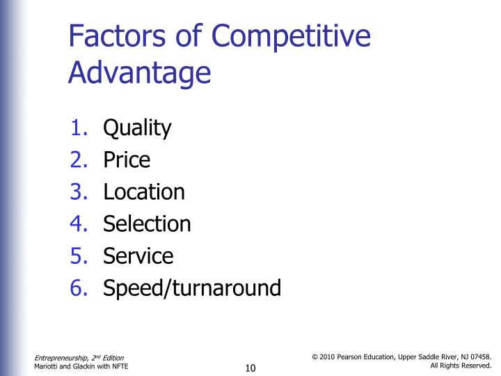 Factors of Competitive Advantage