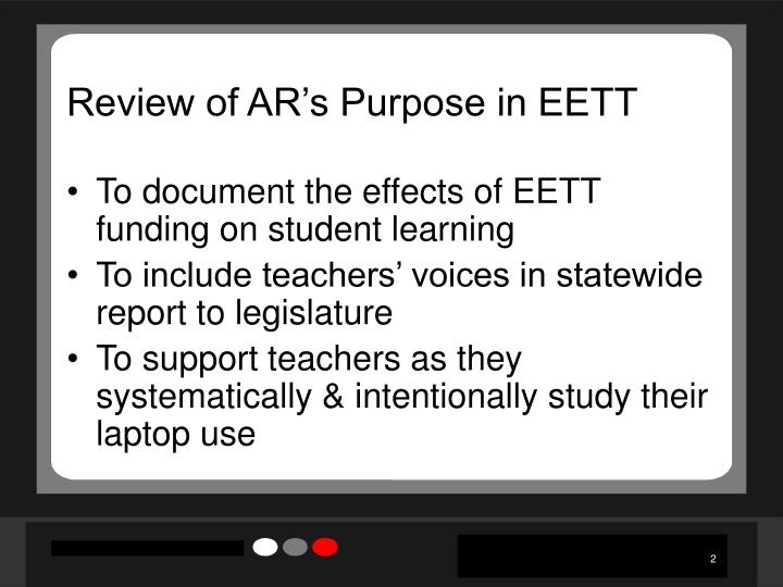 Review of ar s purpose in eett