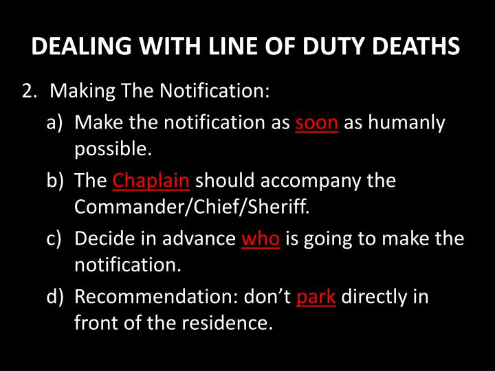 DEALING WITH LINE OF DUTY DEATHS