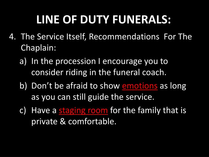 LINE OF DUTY FUNERALS:
