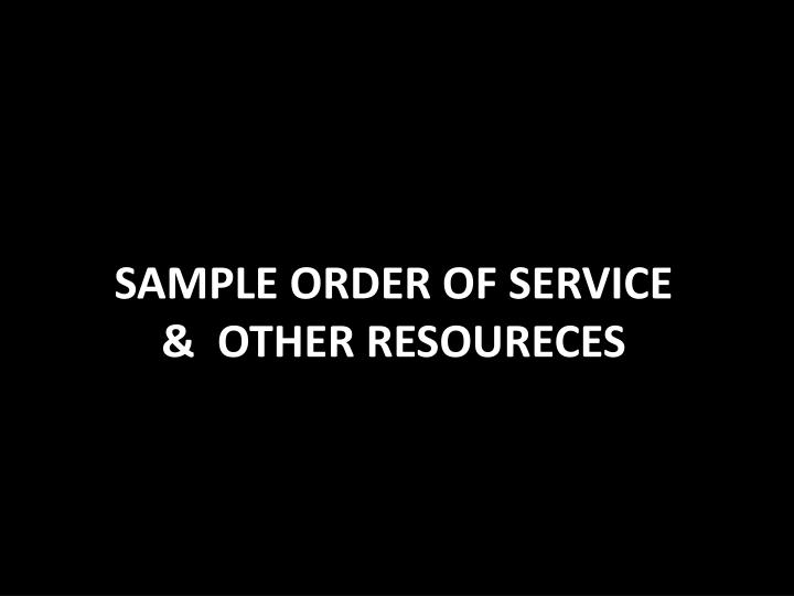 SAMPLE ORDER OF SERVICE