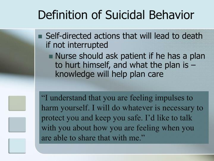 Definition of Suicidal Behavior