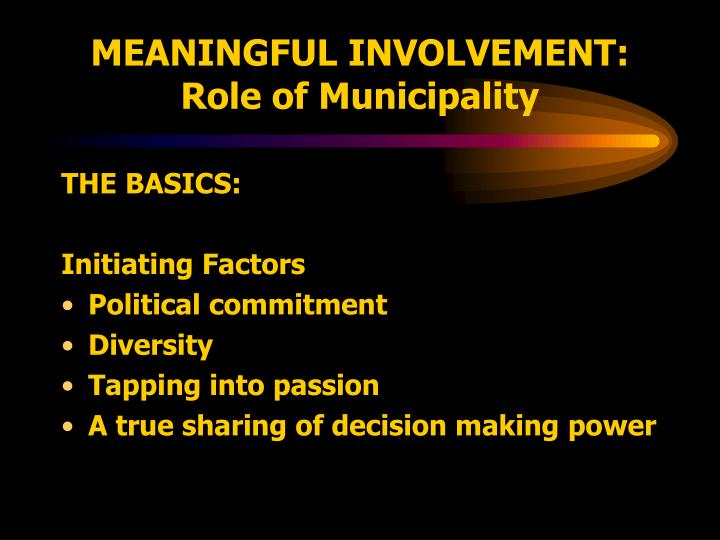 MEANINGFUL INVOLVEMENT: Role of Municipality