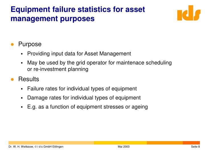 Equipment failure statistics for asset management purposes