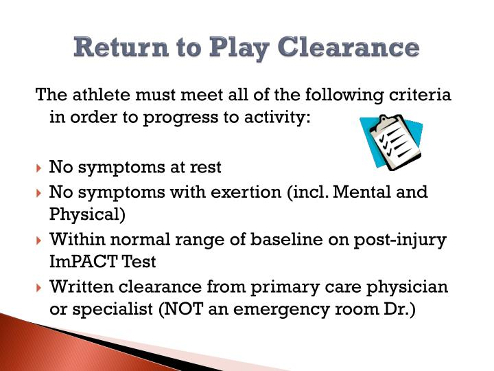 Return to Play Clearance
