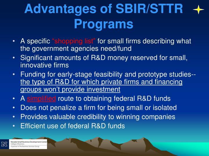 Advantages of SBIR/STTR Programs
