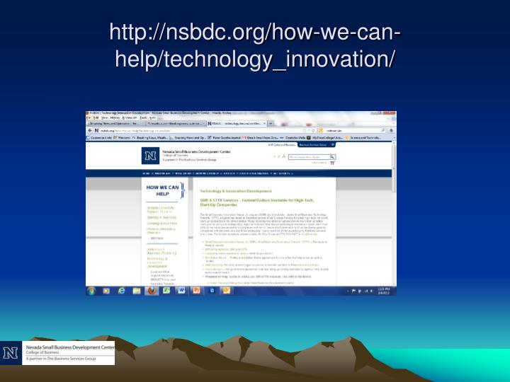 http://nsbdc.org/how-we-can-help/technology_innovation/