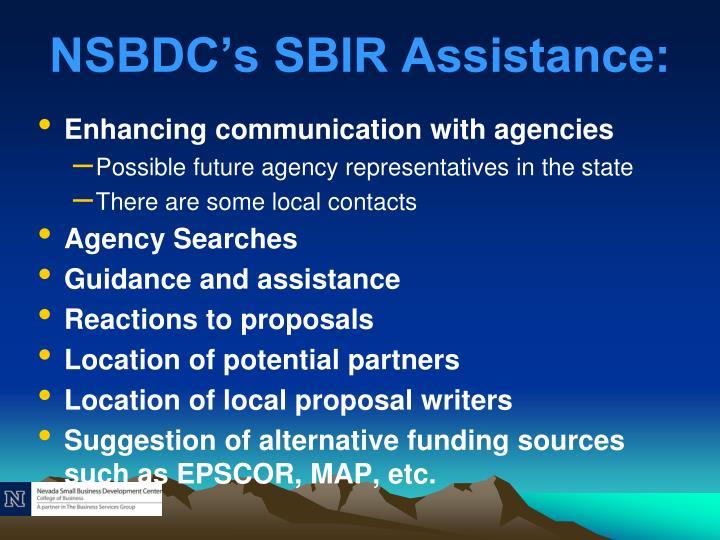 NSBDC's SBIR Assistance:
