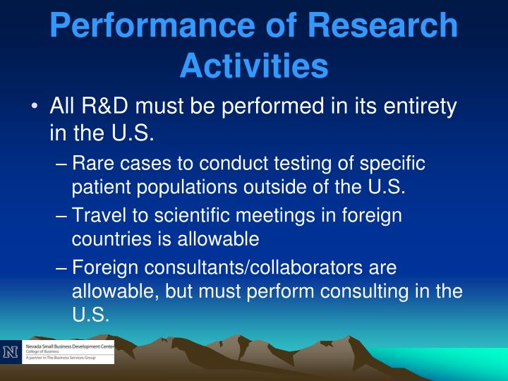 Performance of Research Activities