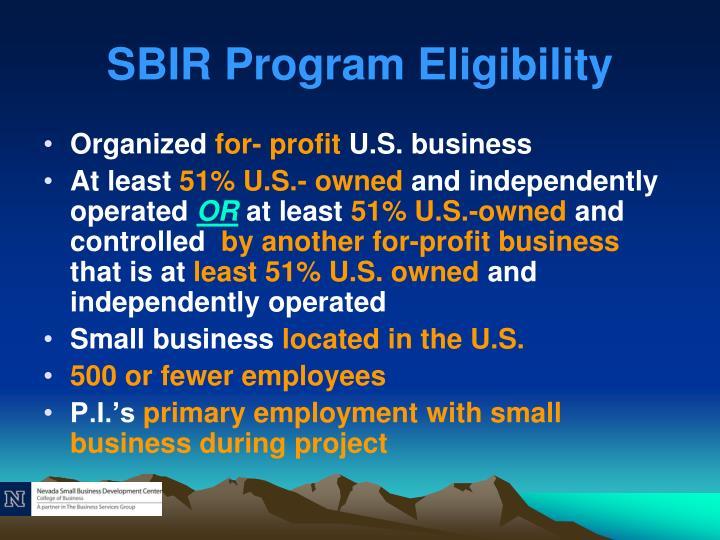 SBIR Program Eligibility