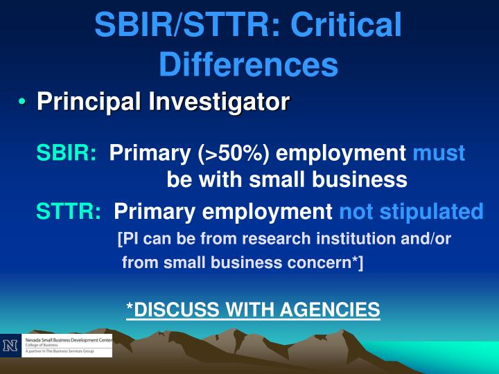 SBIR/STTR: Critical Differences